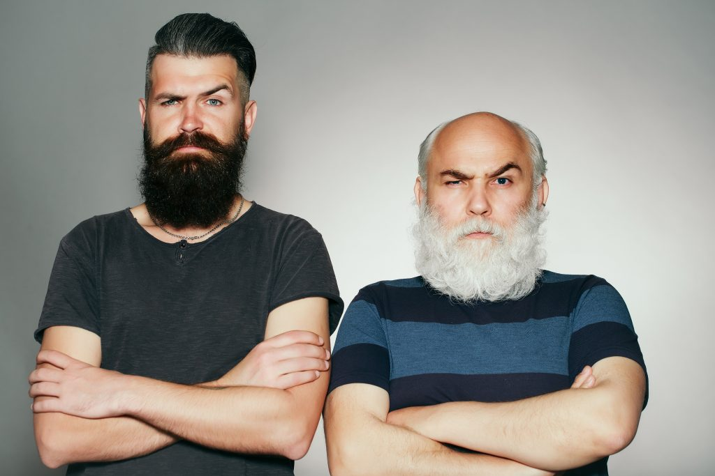 Young and old bearded men
