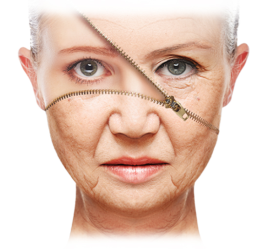 old woman's face unzipped to young woman's face